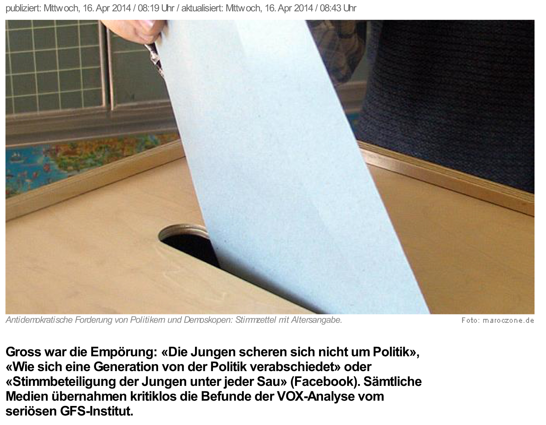 news.ch - Darwins Fehlplatzierung in der Demoskopie. Von Regula