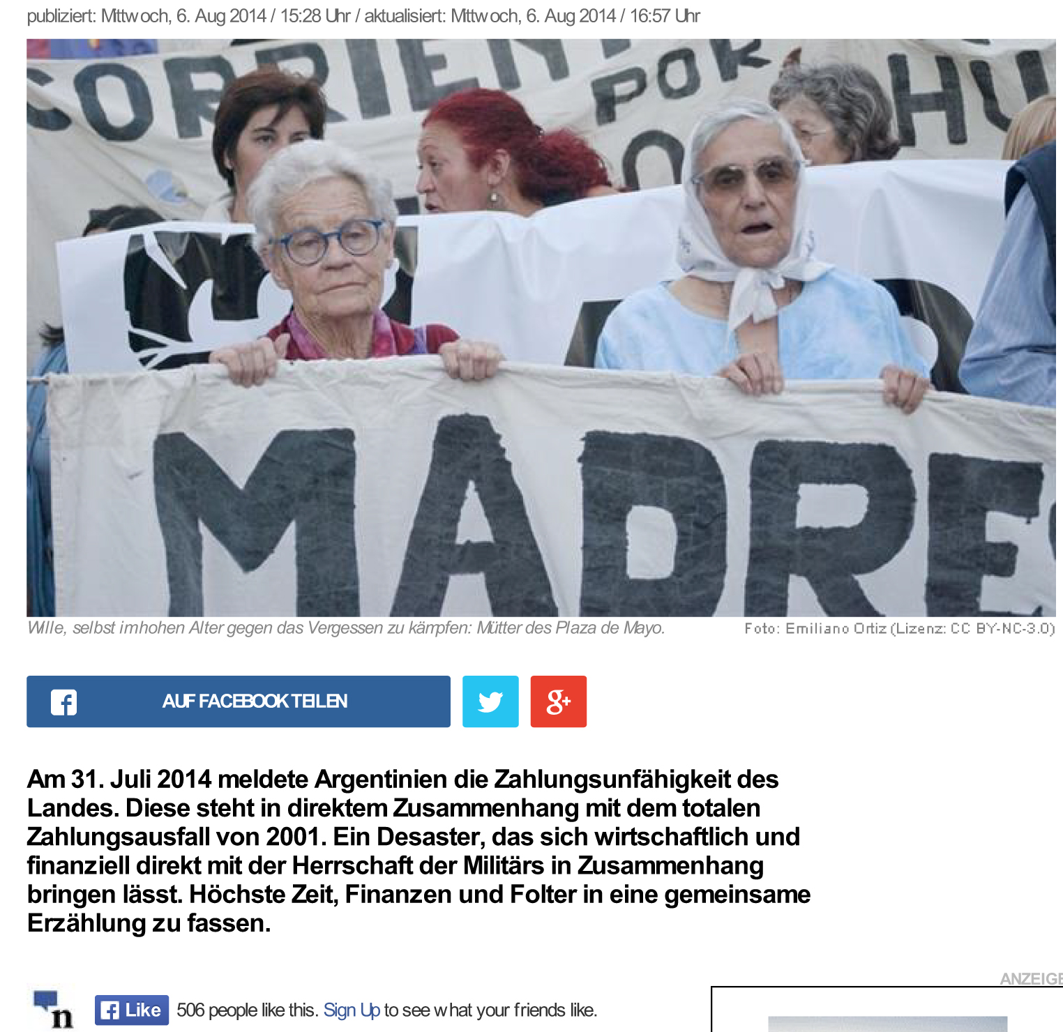 news.ch - Globales Vorbild: Argentinische Mütter und Grossmütt